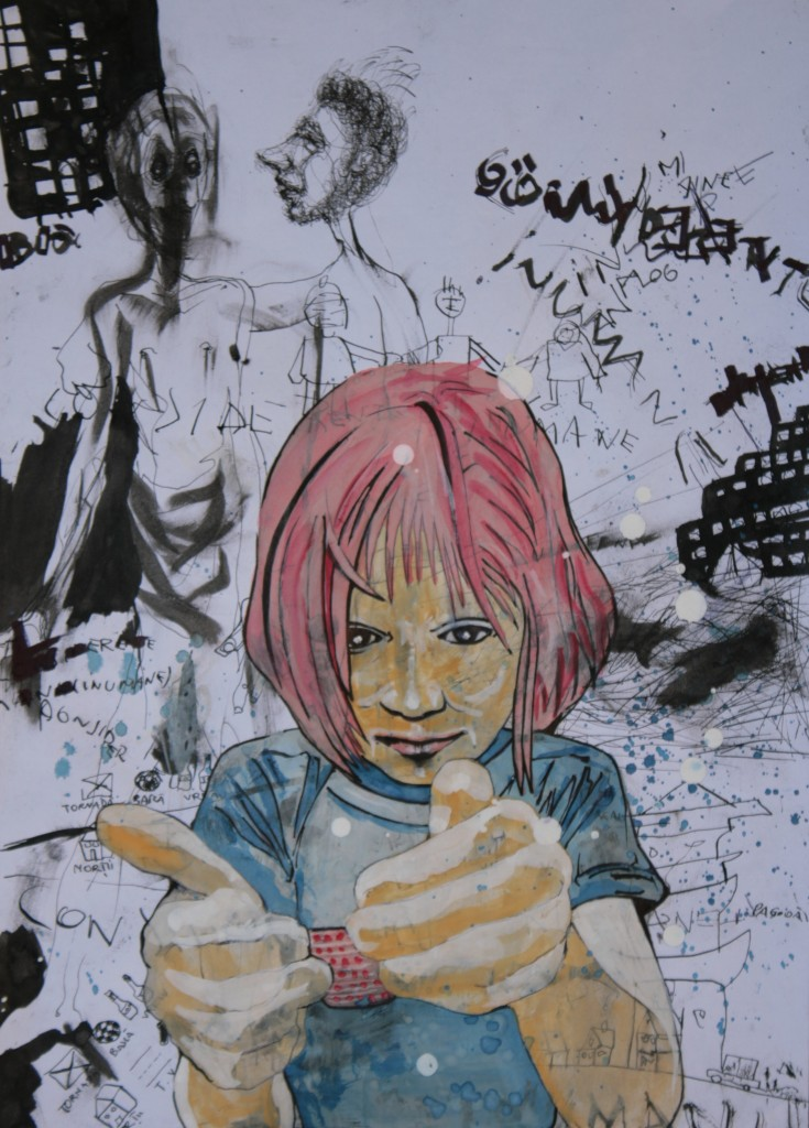 pink hair girl eye contact